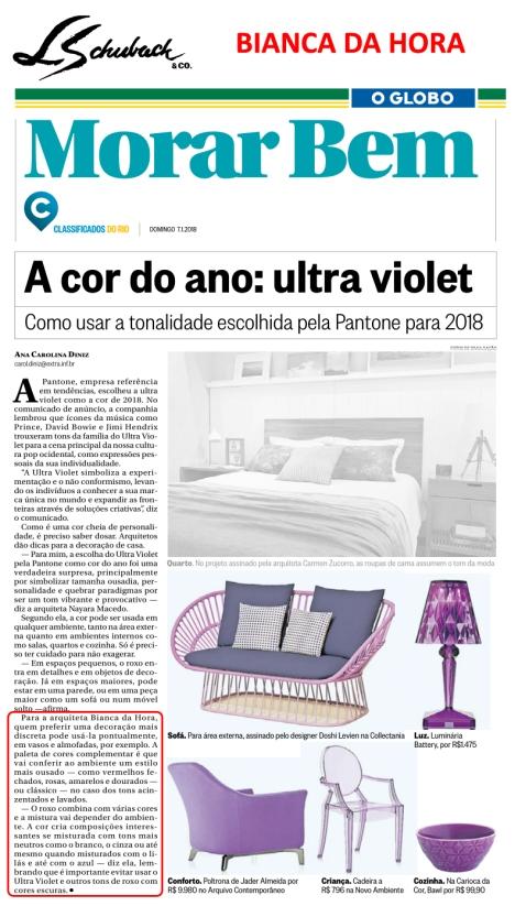 BIANCA DA HORA no caderno MORAR BEM, do jornal O GLOBO, em 7 de janeiro de 2018