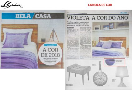 CARIOCA DE COR no caderno BELA CASA, do JORNAL EXTRA em 6 de janeiro de 2018