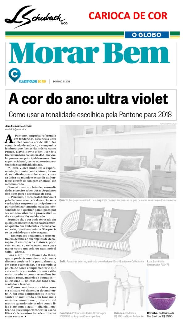 CARIOCA DE COR no caderno MORAR BEM, do jornal O GLOBO, em 7 de janeiro de 2018