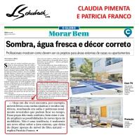 CLAUDIA PIMENTA E PATRICIA FRANCO no caderno MORAR BEM, do JORNAL O GLOBO, de 21 de janeiro de 2018