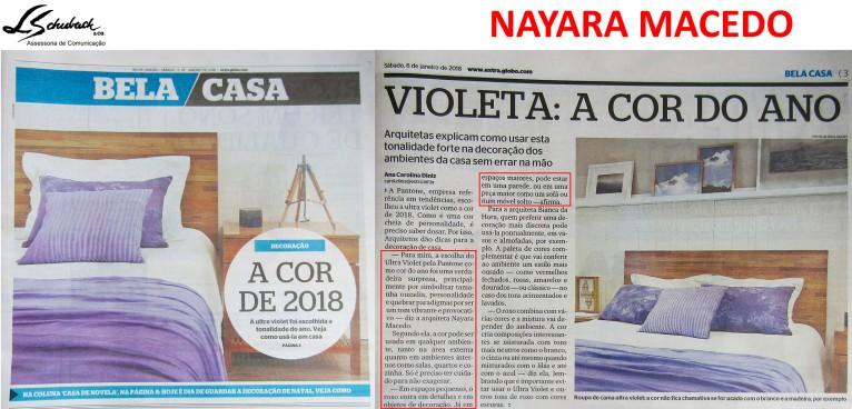 Depoimento da arquiteta NAYARA MACEDO no caderno Bela Casa do jornal Extra em 7 de janeiro de 2018_2