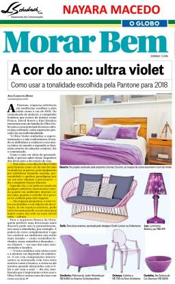 Depoimento da arquiteta NAYARA MACEDO no caderno Morar Bem do jornal O Globo em 7 de janeiro de 2018