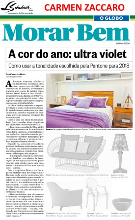 Projeto da arquiteta CARMEN ZACCARO no caderno Morar Bem do jornal O Globo em 7 de janeiro de 2018