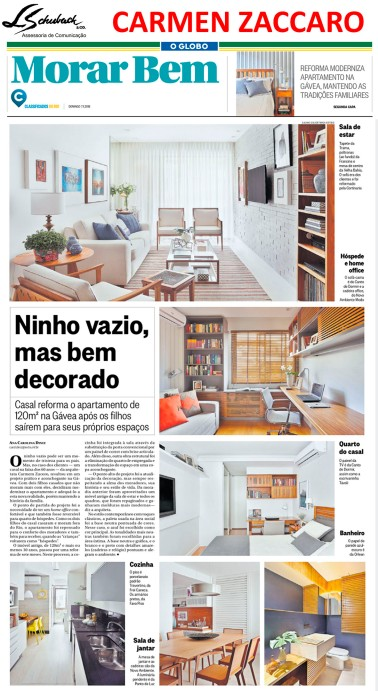 Projeto da arquiteta CARMEN ZACCARO no caderno Morar Bem do jornal O Globo em 7 de janeiro de 2018_2