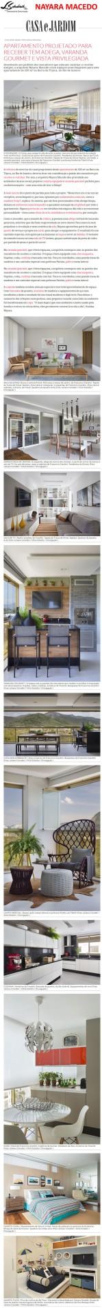 Projeto da arquiteta NAYARA MACEDO no site da revista Casa e Jardim em 11 de janeiro de 2018
