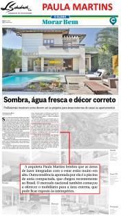 Projeto da arquiteta PAULA MARTINS no caderno Morar Bem do jornal O Globo em 21 de janeiro de 2018