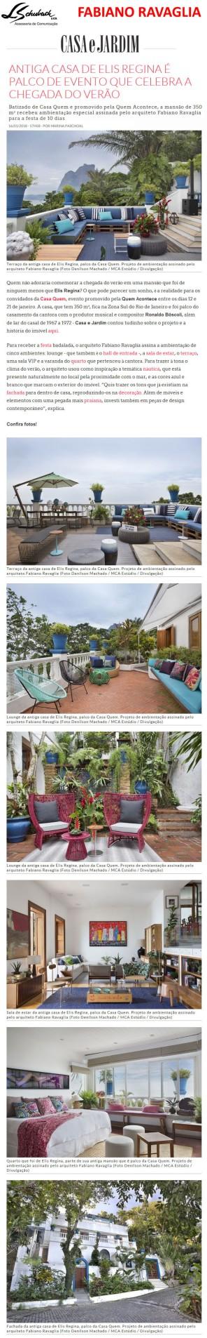 Projeto do arquiteto FABIANO RAVAGLIA no site da Casa e Jardim em 16 de janeiro de 2018