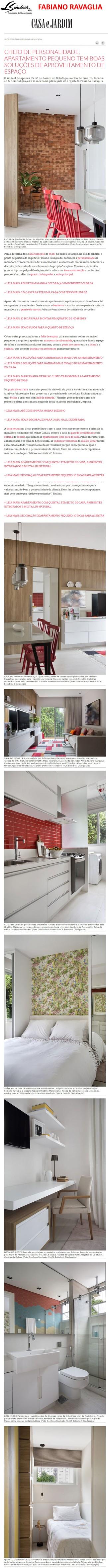Projeto do arquiteto FABIANO RAVAGLIA no site da revista Casa e Jardim em 10 de janeiro de 2018