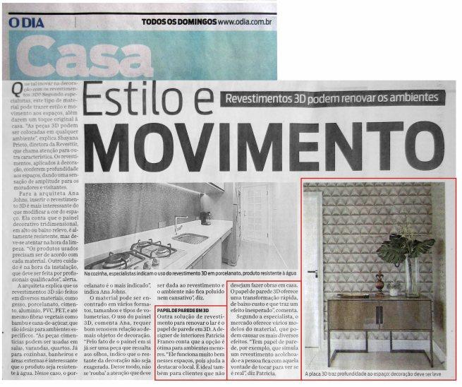 CLAUDIA PIMENTA E PATRICIA FRANCO no caderno CASA do jornal O DIA de 18 de fevereiro de 2018