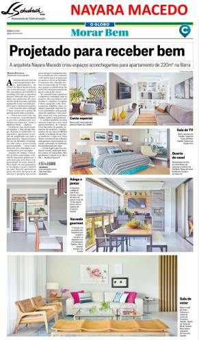 Projeto da arquiteta NAYARA MACEDO no caderno Morar Bem do jornal O Globo em 25 de fevereiro de 2018