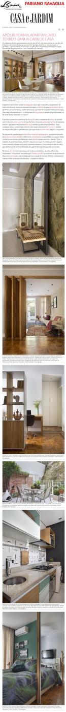Projeto do arquiteto FABIANO RAVAGLIA no site da revista Casa e Jardim em 1 de fevereiro de 2018