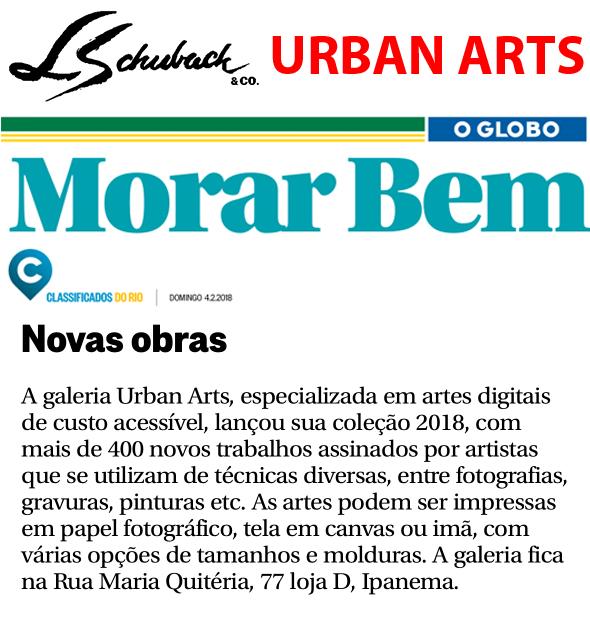 URBAN ARTS no caderno MORAR BEM, do jornal O GLOBO, em 04 de fevereiro de 2018