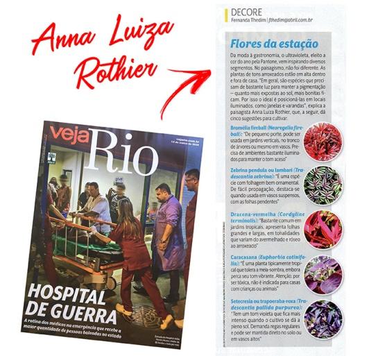 ANNA LUIZA ROTHIER na revista VEJA RIO em 11 de março de 2018