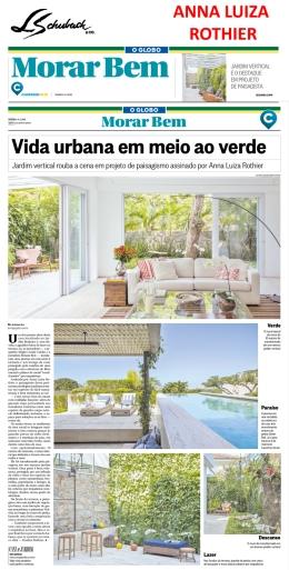 ANNA LUIZA ROTHIER no caderno MORAR BEM, do jornal O GLOBO, em 11 de março de 2018