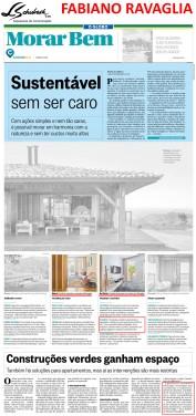 Arquiteto FABIANO RAVAGLIA no caderno Morar Bem do jornal O Globo em 18 de março de 2018