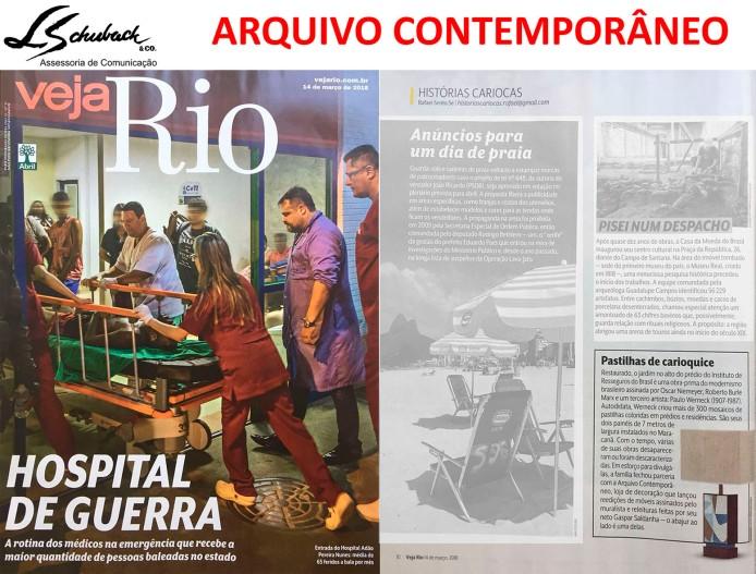 ARQUIVO CONTEMPORÂNEO na revista Veja Rio de 14 de março de 2018
