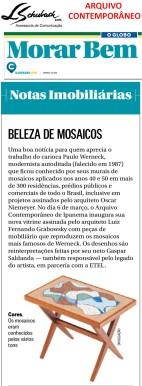 ARQUIVO CONTEMPORÂNEO no caderno Morar Bem do jornal o Globo em 4 de março de 2018