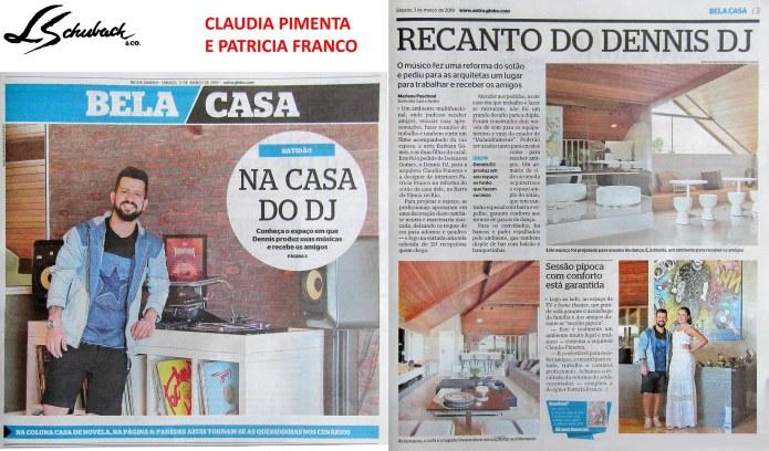 CLAUDIA PIMENTA E PATRICIA FRANCO no caderno BELA CASA, do jornal Extra, em 03 de março de 2018