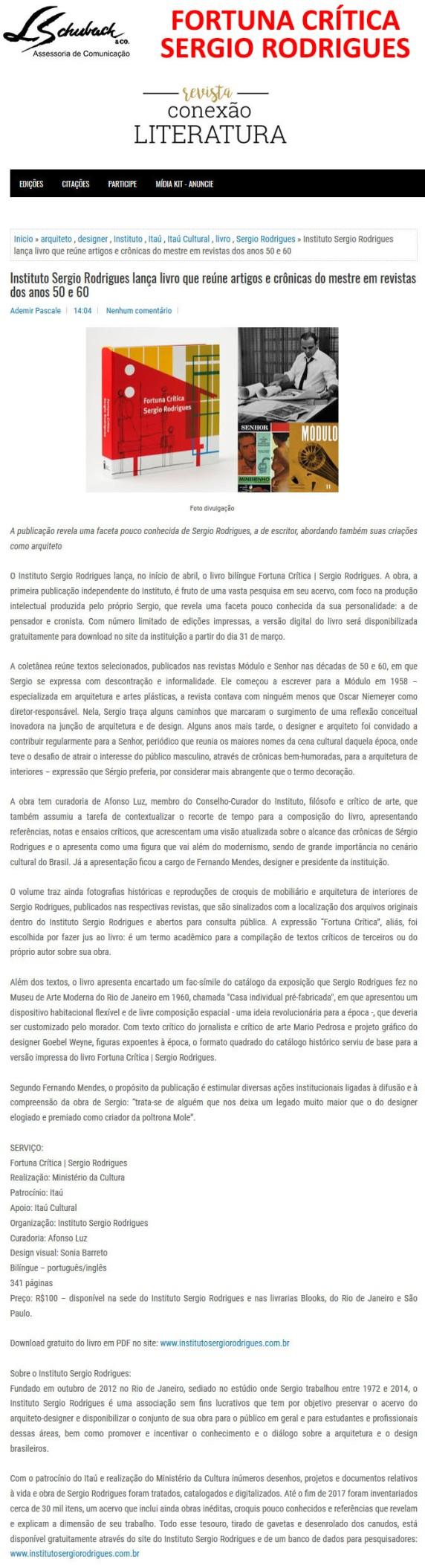 FORTUNA CRÍTICA SERGIO RODRIGUES no site da revista Conexão Literatura em 27 de março de 2018