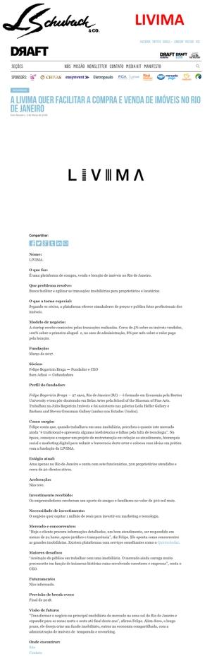 LIVIMA no site DRAFT em 02 de março de 2018