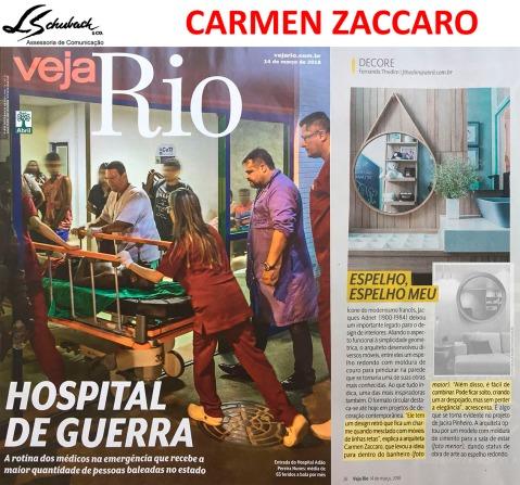 Projeto da arquiteta CARMEN ZACCARO na revista Veja Rio de 14 de março de 2018