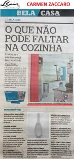 Projeto da arquiteta CARMEN ZACCARO no caderno Bela Casa do jornal O Extra em 10 de março de 2018