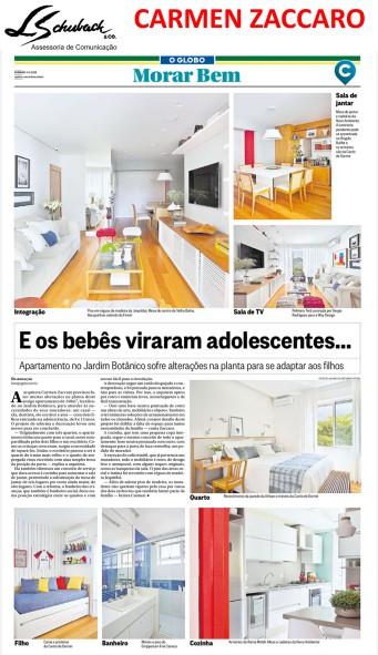 Projeto da arquiteta CARMEN ZACCARO no caderno Morar Bem do jornal O Globo em 4 de março de 2018