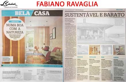 Projeto do arquiteto FABIANO RAVAGLIA na capa do caderno Bela Casa do jornal Extra em 24 de março de 2018