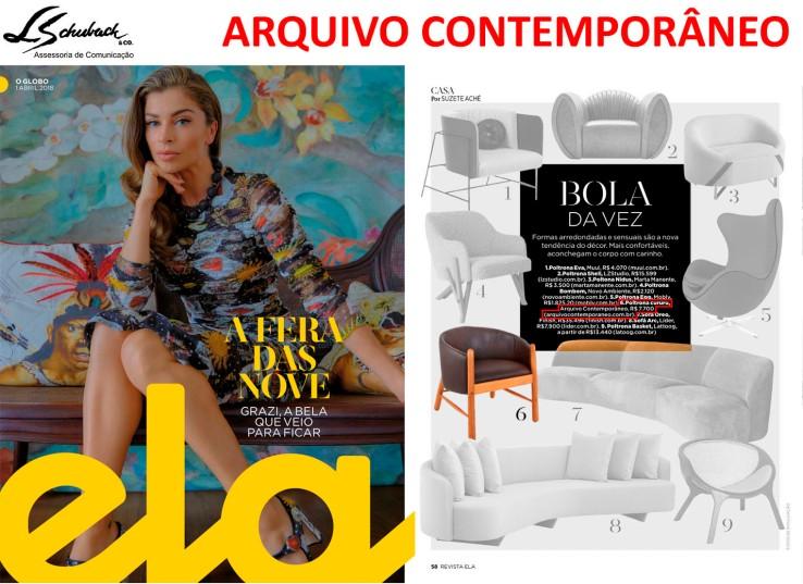 ARQUIVO CONTEMPORÂNEO na Revista Ela do jornal O Globo em 1 de abril de 2018
