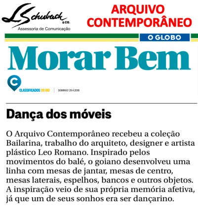 ARQUIVO CONTEMPORÂNEO no caderno Morar Bem do jornal O Globo em 29 de abril de 2018