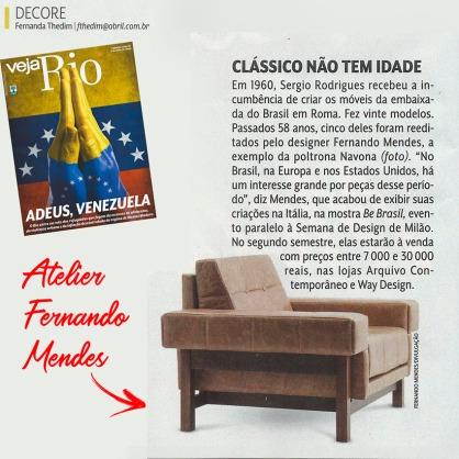 ATELIER FERNANDO MENDES na revista VEJA RIO em 2 de maio de 2018