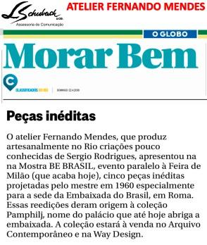 ATELIER FERNANDO MENDES no caderno Morar Bem do Jornal O Globo em 22 de abril de 2018