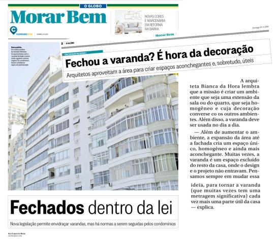 BIANCA DA HORA no caderno MORAR BEM, do jornal O GLOBO, em 29 de abril de 2018