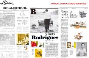 FORTUNA CRÍTICA - SERGIO RODRIGUES no Caderno B, do Jornal do Brasil, em 09 de abril de 2018