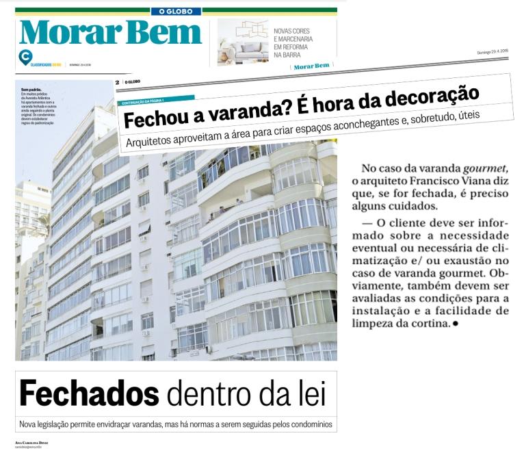 FRANCISCO VIANA no caderno MORAR BEM, do jornal O GLOBO, em 29 de abril de 2018
