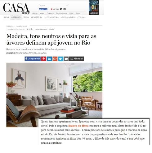 BIANCA DA HORA no site da CASA VOGUE em 27 de maio de 2018 - insta