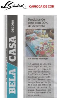 CARIOCA DE COR no caderno BELA CASA DECORA, do jornal Extra, em 6 de maio de 2018