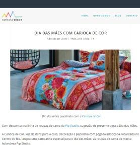 CARIOCA DE COR no site CONEXÃO DECOR, em 7 de maio de 2018 - instagram