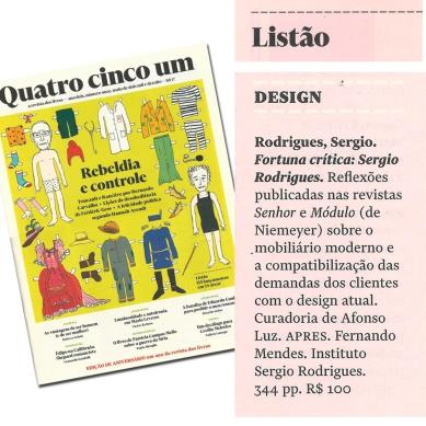 FORTUNA CRÍTICA - SERGIO RODRIGUES na edição de maio da revista QUATRO CINCO UM