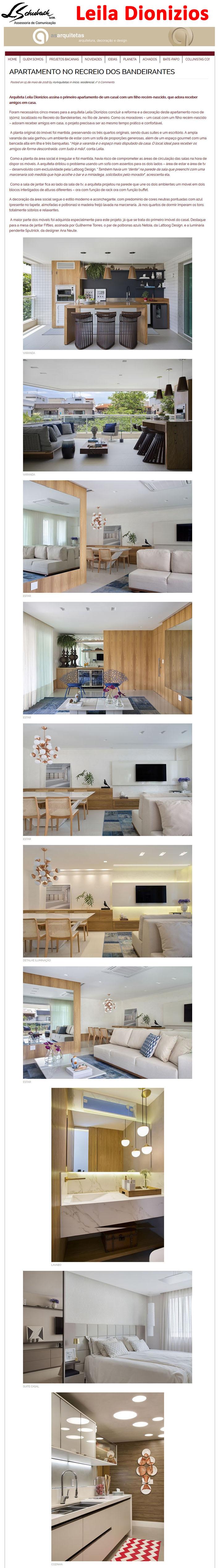 Projeto da arquiteta LEILA DIONIZIOS no site As Arquitetas em 15 de maio de 2018