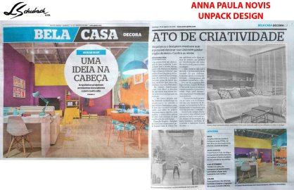 ANNA PAULA NOVIS no caderno BELA CASA, do JORNAL EXTRA, em 19 de agosto de 2018