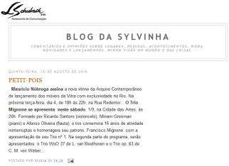 ARQUIVO CONTEMPORÂNEO no blog da Sylvinha em 30 de agosto de 2018