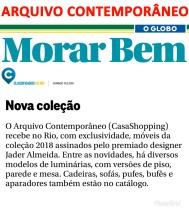 ARQUIVO CONTEMPORÂNEO no caderno Morar Bem do jornal O Globo em 10 de junho de 2018