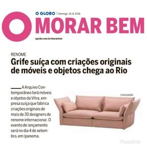 ARQUIVO CONTEMPORÂNEO no caderno Morar Bem do jornal O Globo em 26 de agosto de 2018