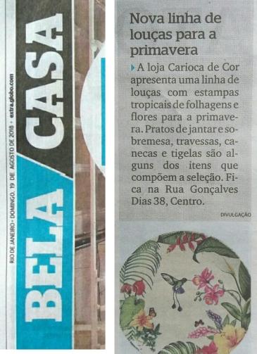 CARIOCA DE COR no caderno BELA CASA, do JORNAL EXTRA, em 19 de agosto de 2018