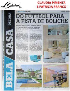 CLAUDIA PIMENTA e PATRICIA FRANCO no caderno BELA CASA do JORNAL EXTRA de 5 de agosto de 2018