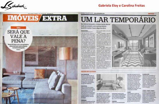 GABRIELA ELOY E CAROLINA FREITAS no caderno BELA CASA, do jornal EXTRA, em 1 de julho de 2018