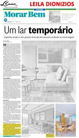LEILA DIONIZIOS na capa do caderno Morar Bem do jornal O Globo em 24 de junho de 2018