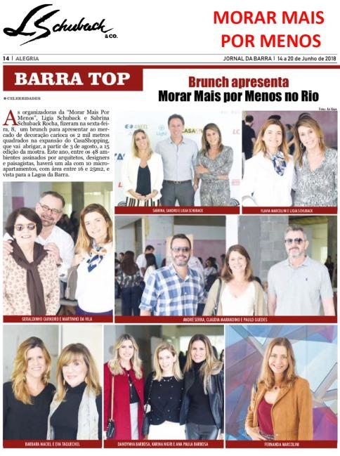 MORAR MAIS POR MENOS na coluna BARRA TOP, do JORNAL DA BARRA, em 14 de junho de 2018