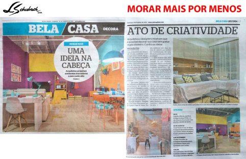MORAR MAIS POR MENOS no caderno BELA CASA, do JORNAL EXTRA, em 19 de agosto de 2018